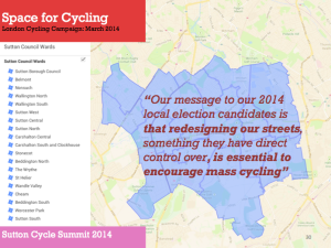 Space for Cycling: a slide from the Love Sutton, Go Dutch presentation 22 January 2014