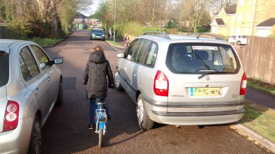 Cars parked at the end of the shared foot.cycle path