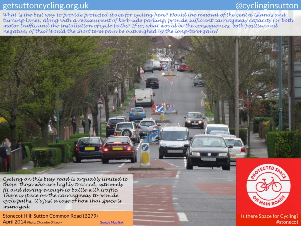 View of Sutton Common Road. The question is posed: what's the best way to provide protected space for cycling here?