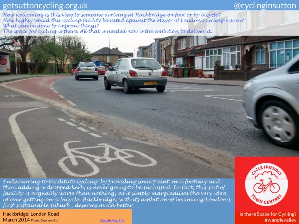 A photo of London Road, Hackbridge. How highly would this cycling facility  be rated against the Mayor of London's cycling vision?