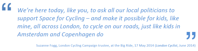 A quote from Suzanne Fogg, LCC trustee, at the Big Ride