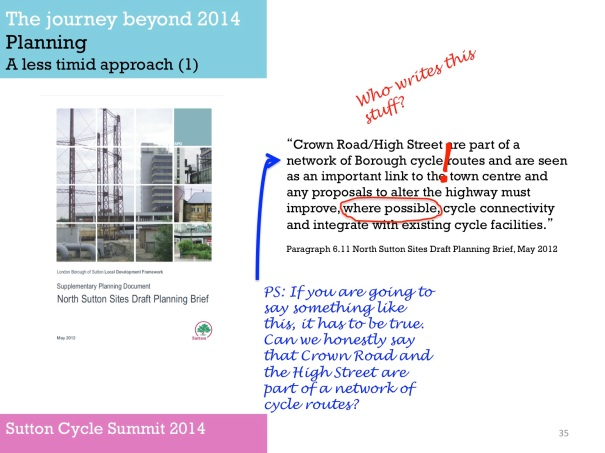 Slide from Sutton Cycle Summit 2014