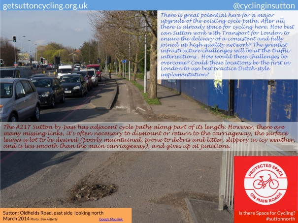 A view of the existing cycle path on Oldfield Road. The question is posed: how would challenges at the traffic intersections be overcome?