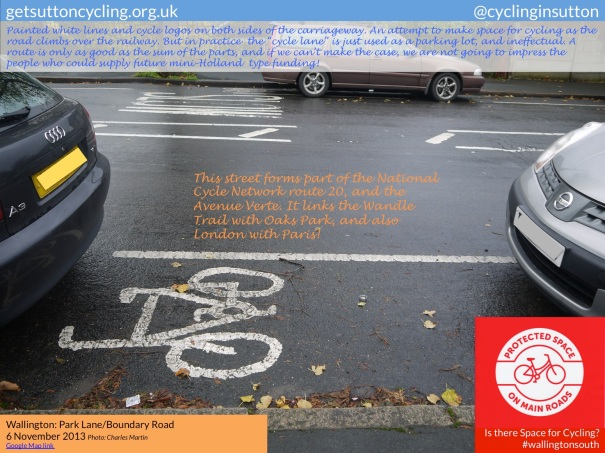 Photo of part of the existing cycle lane in Park Lane / Boundary Road