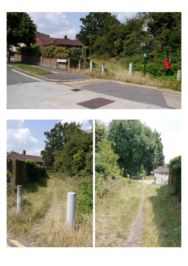 Worcester Park footpath, eastern end by Charminster Road/Trafalgar Road