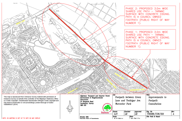 Plan of footpath between Green Lane and Trafalgar Avenue, Worcester Park, showing proposed improvements.