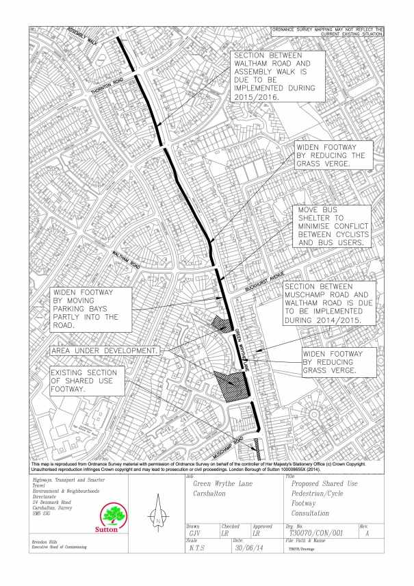 Plan of proposed footway cycleway on Green Wrythe Lane