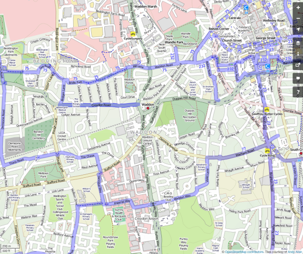 Open Street Map, cycling layer, centred on Waddon