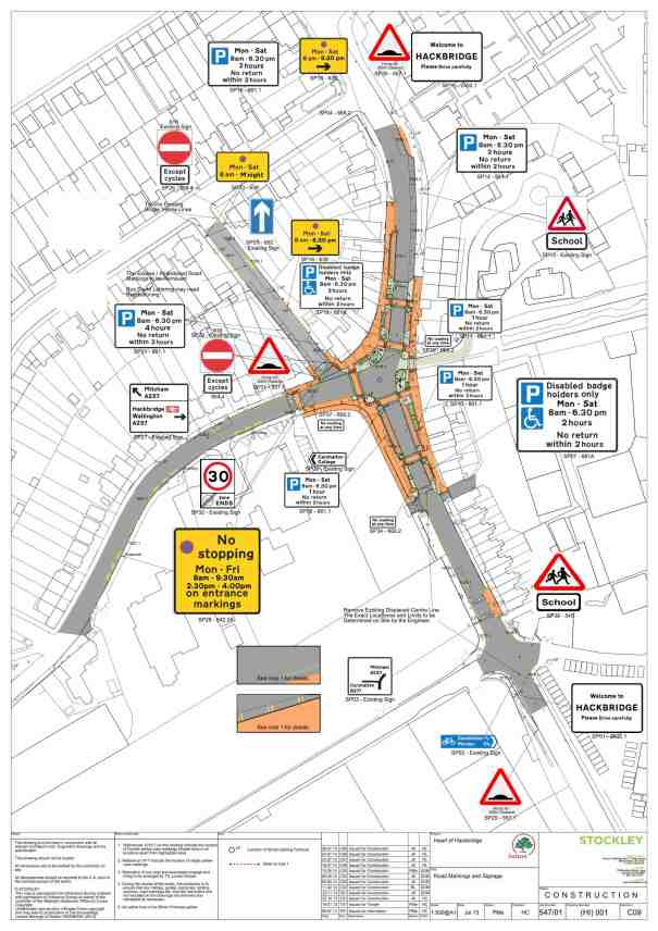 Diagram showing proposed new signage as part of the  Heart of Hackbridge proposals. Taken from