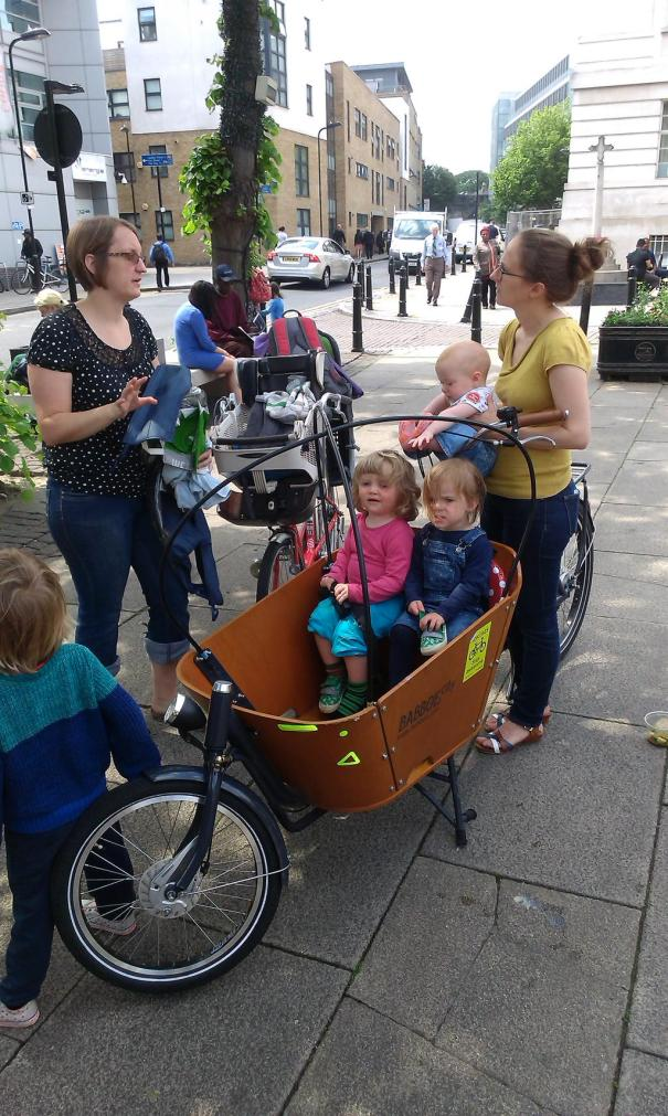 Lunchtime, outside the Hackney Picturehouse (courtesy of @bikesandbabies)