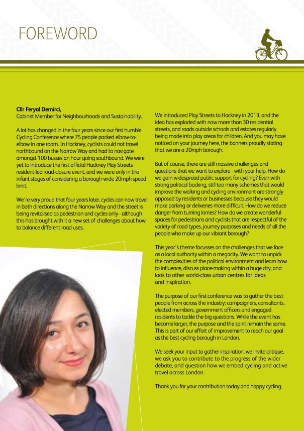 The foreword to the Hackney Cycling Conference 2015 programme, from Councillor Feryal Demirci.