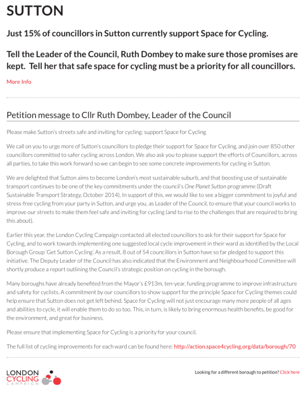 Sutton's Space for Cycling petition