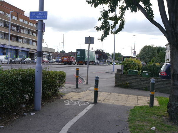 St Helier Avenue, west side., looking south towards Rosehill roundabout. Will this always be the end of the road? When the going gets tough, dismount. Photo: Charles Martin, 22 August 2014