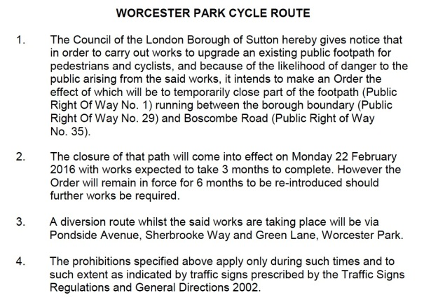 WorcesterParkCycleRoute_NotificationOfTemporaryClosureFootpathForConstruction