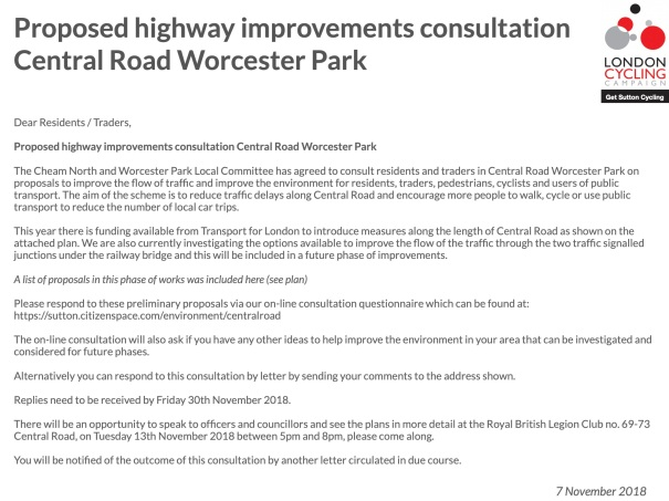SuttonCycleForumFebruary2019_CentralRoad_WorcesterPark_HighwayImprovements_Letter