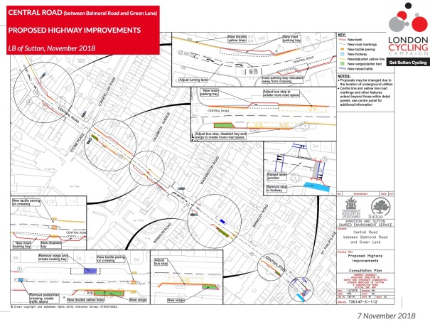 SuttonCycleForumFebruary2019_CentralRoad_WorcesterPark_HighwayImprovements_Plan