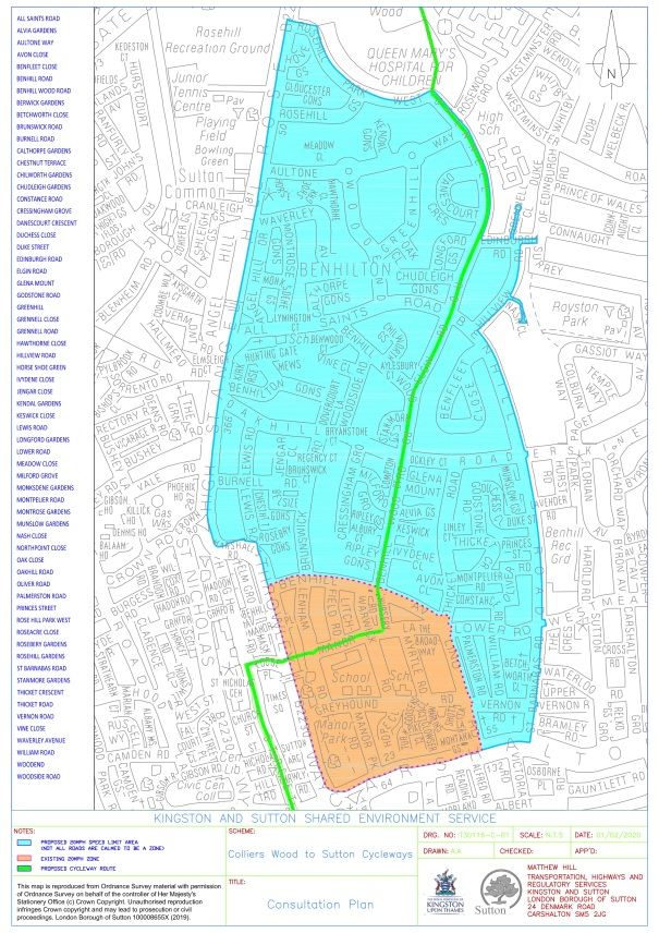 CyclewayBetweenSuttonHighStreetAndColliersWood_ProposalsInSutton_20mphAreaProposalPlan