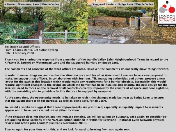 SuttonCycleForumDecember2019_Email_Barriers_WatermeadLane_BudgeLane_Final